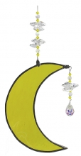 Hanging Cresent Leadlight Moon - Yellow<br/><b>LIMITED STOCK AVAILABLE!</b>