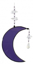 Hanging Cresent Leadlight Moon - Purple <br/><b>LIMITED STOCK AVAILABLE!</b>