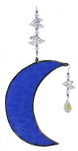 Hanging Cresent Leadlight Moon - Blue <br/><b>LIMITED STOCK AVAILABLE!</b>