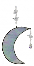 Hanging Cresent Leadlight Moon - Aurora Borealis<br/><b>LIMITED STOCK AVAILABLE!</b>