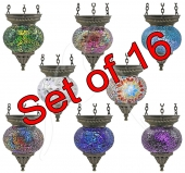Small Turkish Mosaic Hanging Tealights - set of 16