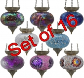 Large Turkish Mosaic Hanging Tealights - set of 16