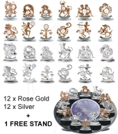 Crystocraft Zodiac - Silver - 24 pc set - incl. 1 FREE STAND