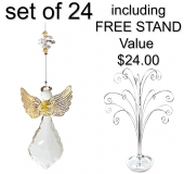 SPECIAL - Hanging Starburst Angel - BEADED - Set of 24 incl. FREE STAND