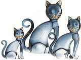 Sitting Cats - set of 3